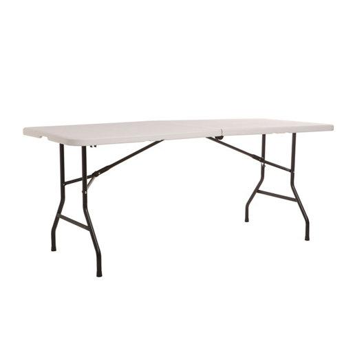 Mesa de jardín de comedor de acero catering gris de 183x74x76 cm