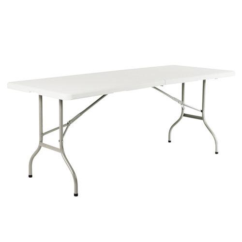 Mesa de jardín de comedor de acero catering blanco de 76x74x243 cm