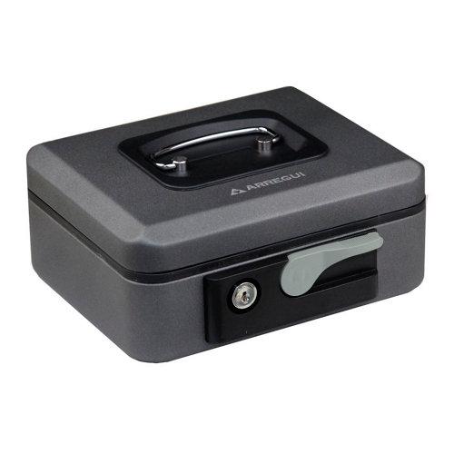 Caja de caudales en acero gris / plata de 20x9x16 cm