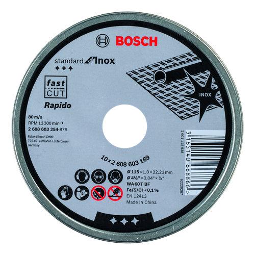 Kit de 10 discos de corte bosch de 115 mm de diámetro