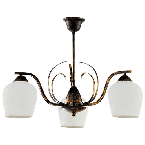 Lámpara de techo campanas naranja 3 luces