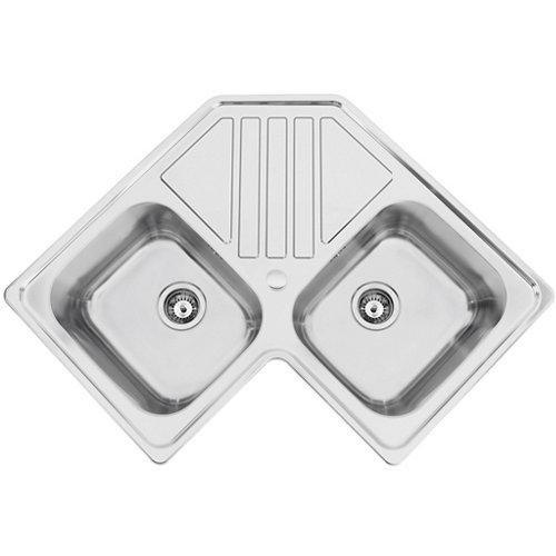 Fregadero 2 senos de acero inox angular rodi selection plus 90x83cm