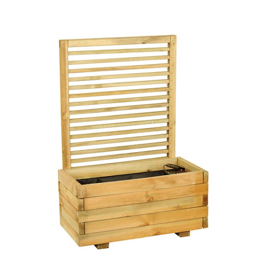 Jardinera de madera forest style beige 80x120 cm