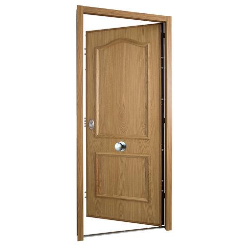 Puerta de entrada acorazada serie v derecha roble de 89x206 cm