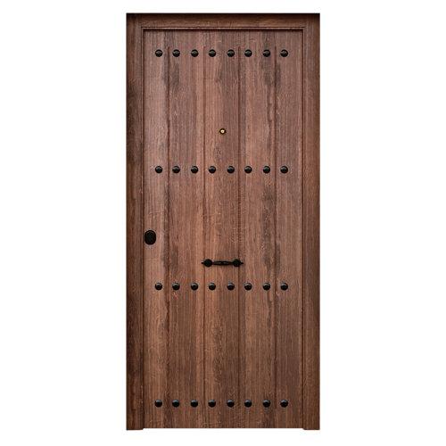 Puerta de entrada metálica saga rústica derecha de 90x210 cm
