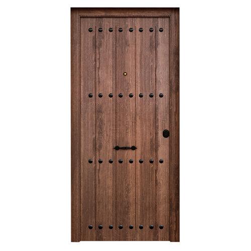 Puerta de entrada metálica saga rústica izquierda de 90x210cm