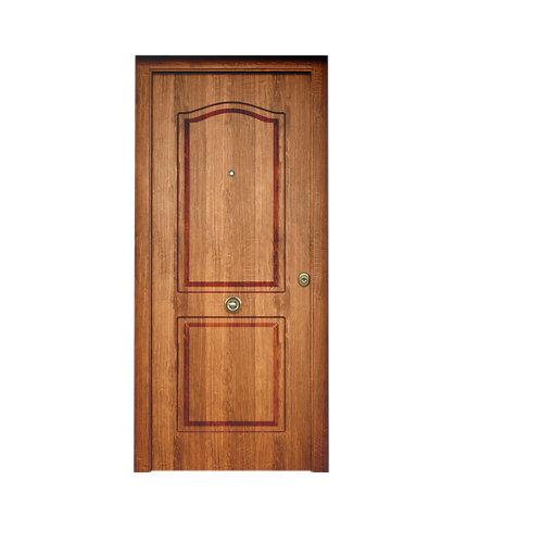 Puerta de entrada metálica saga semiprovenzal roble viejo izquierda de 90x210 cm