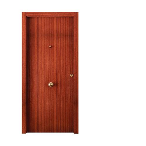 Puerta de entrada blindada lisa izquierda sapelli/blanco de 85,7x205 cm
