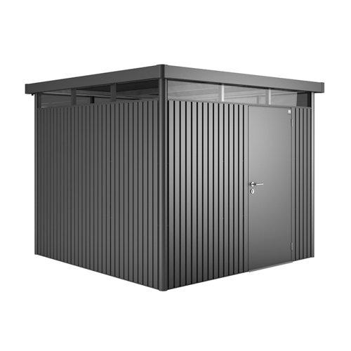 Caseta de metal h4 gris de 275x222x275 cm y 7.56 m2
