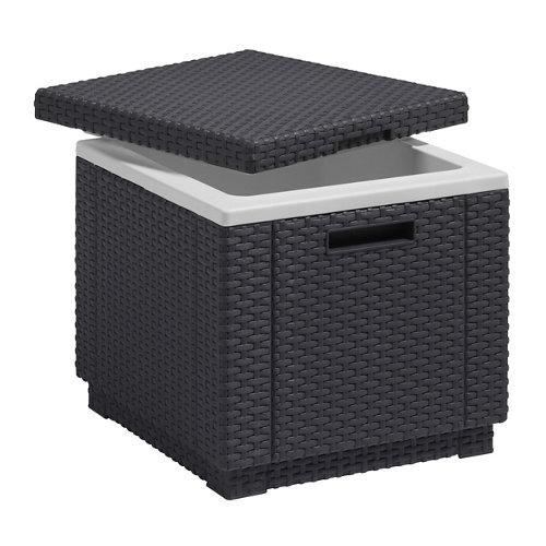 Mesa de jardín baja de resina ice cube gris de 42x41x42 cm