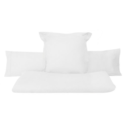Sábana encimera algodón blanco para cama 90 / 105 cm