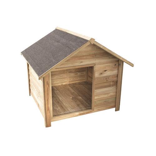 Caseta para perro de madera marrón 120x100x114 cm