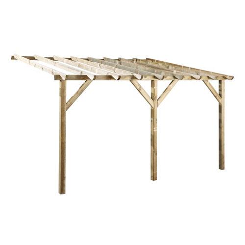 Marquesina de madera etreta beige de 12 m2
