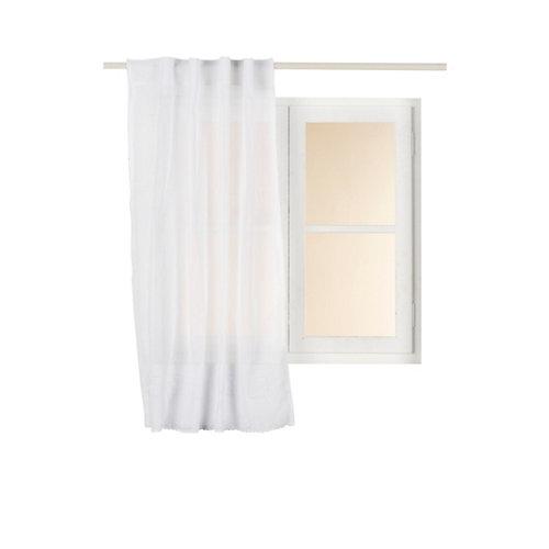 Visillo cantabria con motivo liso blanco de 140 x 130 cm