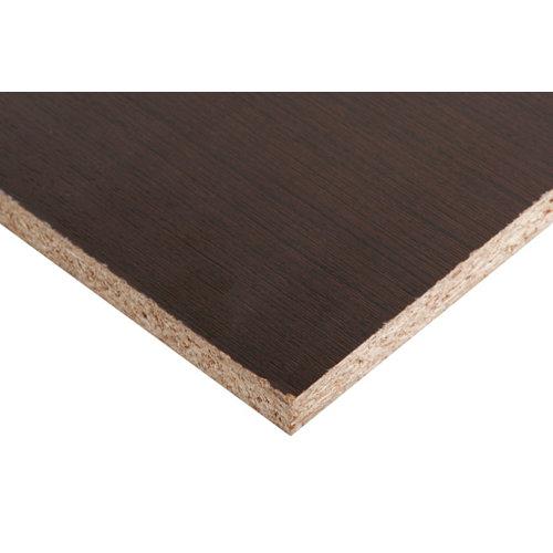 Tablero aglomerado de melamina wengué 122x244x1,6 cm (anchoxaltoxgrosor)