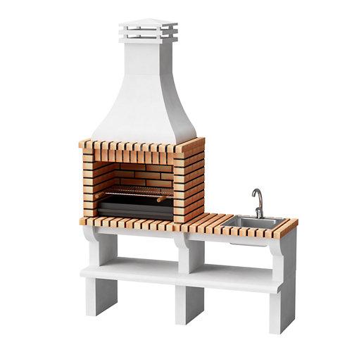 Barbacoa de ladrillo / hormigón nevada 238x60x166 cm de 650 kg