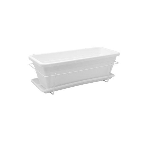 Kit jardinera y plato venezia blanco 50x19,5x16,3cm