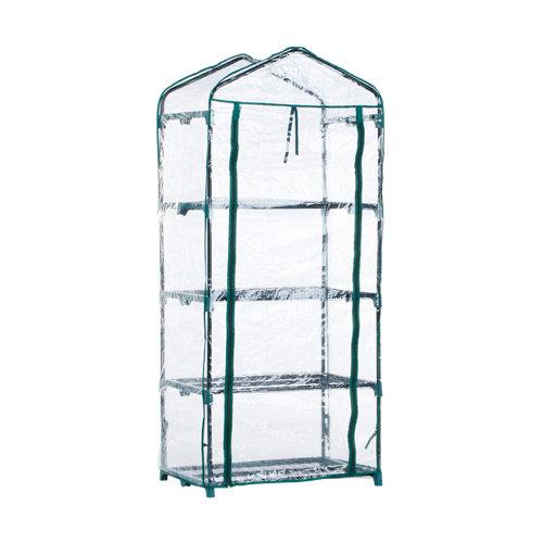Invernadero de 4 baldas de acero y pvc 69x157x49 cm