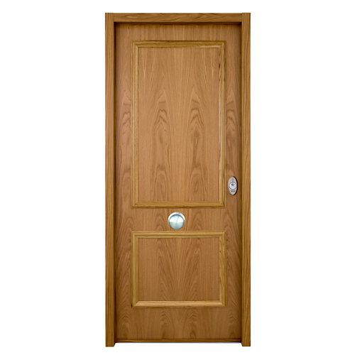 Puerta de entrada acorazada serie v 2 cuadros izquierda roble de 93x206 cm