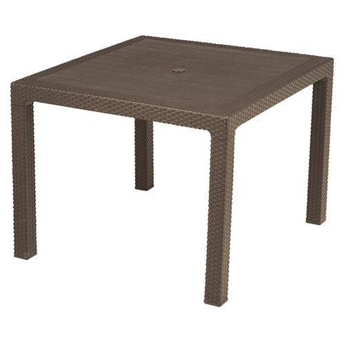 Mesa de jardín de comedor de resina quartet marrón de 95x74.5x95 cm