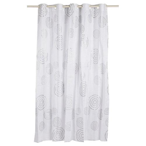 Cortina de baño espiral plata poliéster 180x200 cm