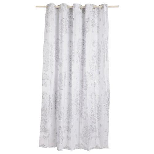 Cortina de baño paisley plata poliéster 180x200 cm
