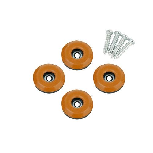 4 patín redondos de plástico de 25x25 mm