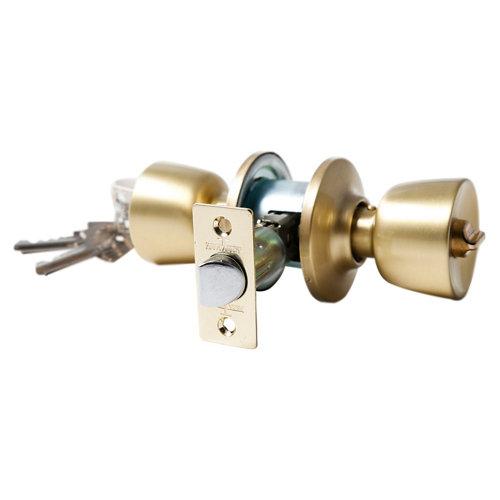 Pomo de puerta con mecanismo para puerta de entrada en latón