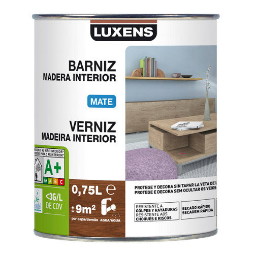 Barniz de interior luxens gris zinc mate 0,75l