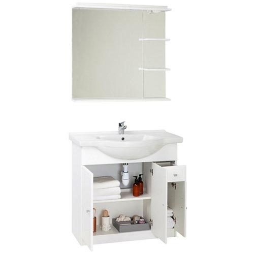 Conjunto baño con lavabo y espejo galice blanco 80x33.4 cm