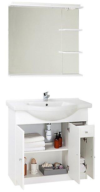Conjunto Baño Con Lavabo Y Espejo Galice Blanco 80x33 4 Cm Leroy Merlin