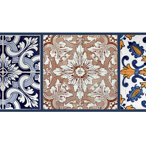 Cenefa adhesiva de papel imitación cerámica azulejos 5 m