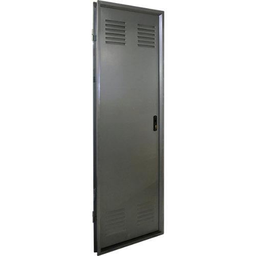 Puerta de servicio izquierda acero galvanizado/acero galvanizado de 200x80 cm