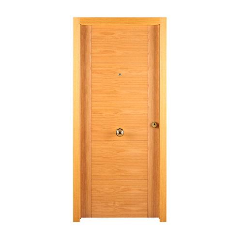 Puerta de entrada blindada noruega izquierda roble de 85.7x205 cm