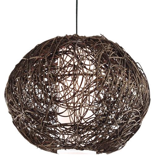 Lámpara de techo rattan marrón 1 luz