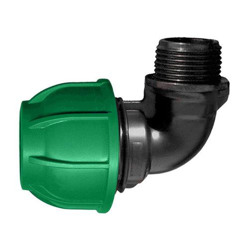 """Codo rosca m ½"""" para tuberías de polietileno (pe) 20 mm 10 bar"""