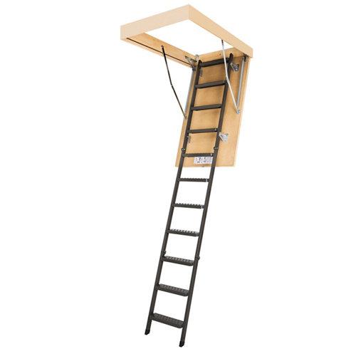 Escalera escamoteable de tijera de metal con cajón pino aislado 120x70 cm