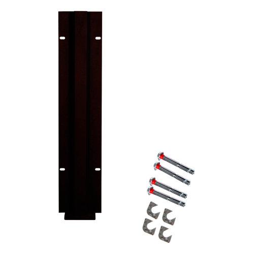 Poste atornillar intermedio apto para valla sobre muro negro