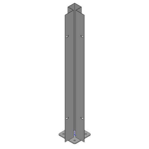 Poste atornillar esquina exterior apto para valla sobre muro negro