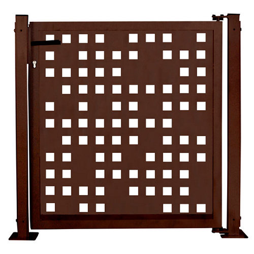 Kit puerta para valla tetris 116x93,5 cm óxido