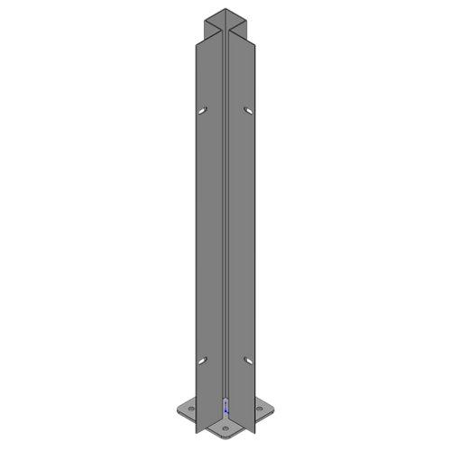 Poste atornillar esquina exterior apto para valla sobre muro blanco