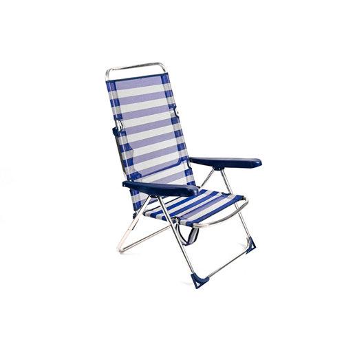 Silla de exterior de aluminio playa azul