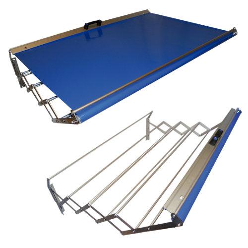 Tendedero barras extensible para pared de aluminio de 160x23x75 cm