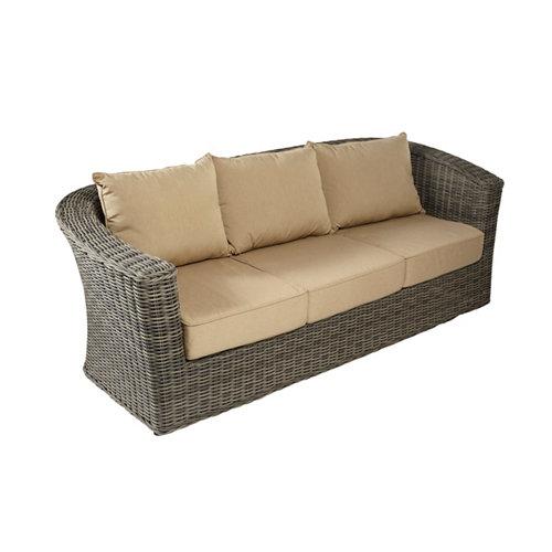 Banco/sofá de exterior de ratán sintético komodo marrón