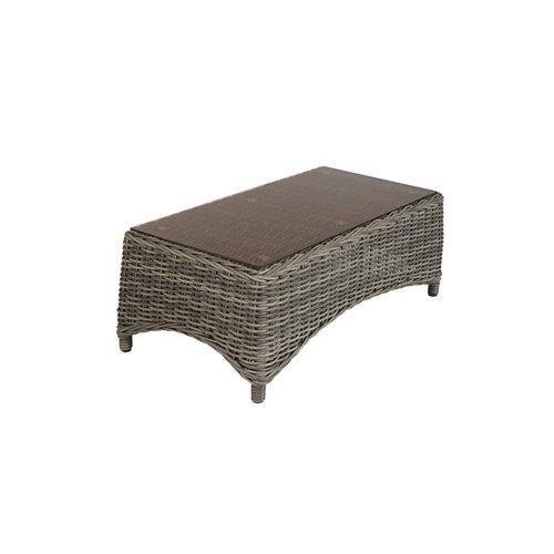 Mesa de jardín baja de resina trenzada komodo marrón de 52x35x105 cm