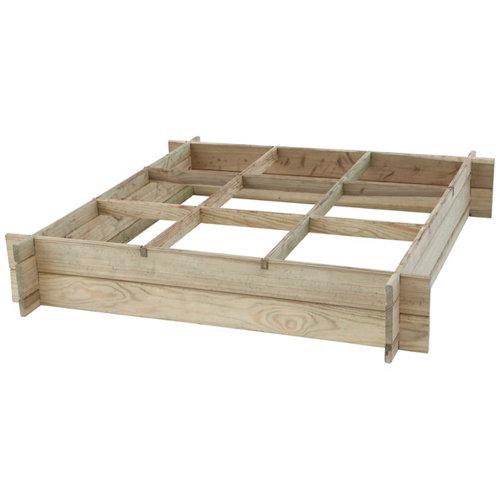 Huerto de suelo de madera 100x100x18 cm