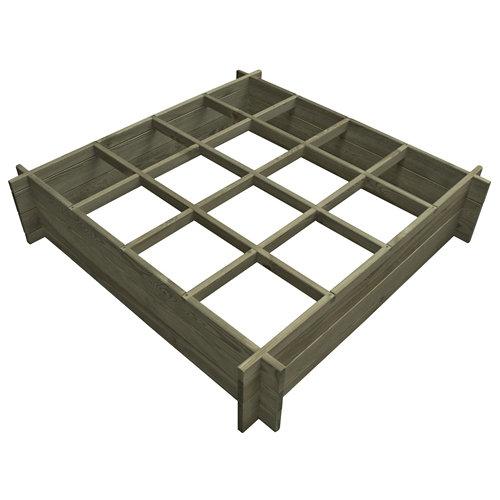 Huerto de suelo de madera 120x120x27 cm