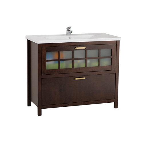 Mueble baño nizza nogal 100 x 45 cm
