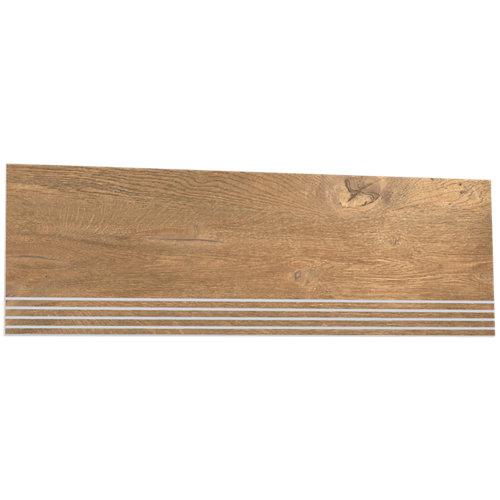 Borde de peldaño porcelánico de 23.3x68.1 legno roble