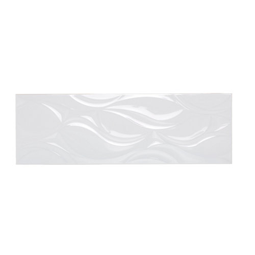 Azulejo cerámico benares 25x75 relieve blanco brillo artens